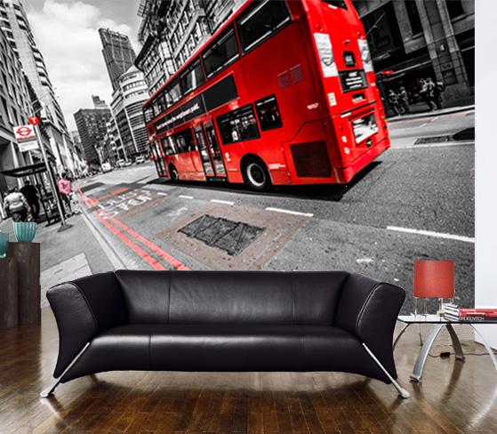 Vlies fotobehang Londen Bus
