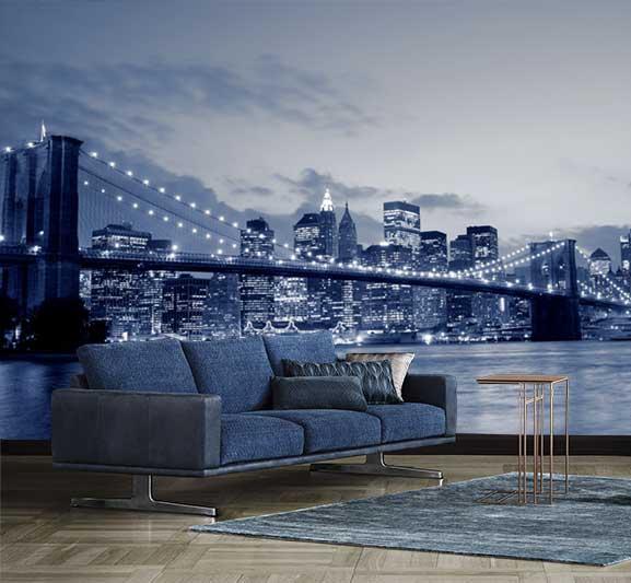 Vlies fotobehang Skyline Brooklyn Bridge