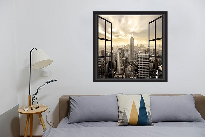 3D Raam Muursticker New York
