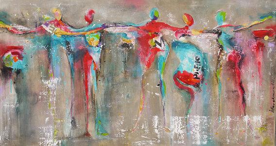 'Dance people 2' van Atelier Paint-Ing – 55×30 Canvas