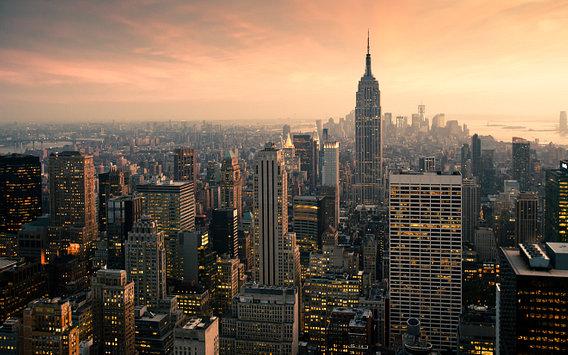 'New York Panorama' van Jesse Kraal – 80×50 Aluminium Dibond