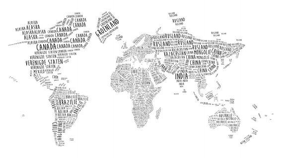 'Wereldkaart in Typografie – Nederlandstalig' van – Wereldkaarten.shop – – 130×75 Canvas
